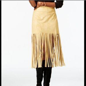 Vakko for INC Fringe suede Skirt NWT Medium